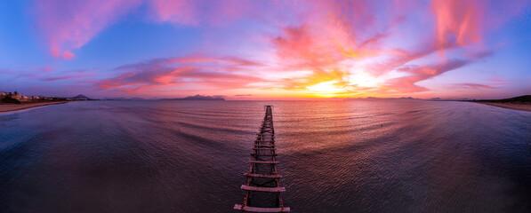 Fototapeta Sunrise at Platja de Muro near Alcudia - The beautiful beach during the pandemic at Mallorca, Spain
