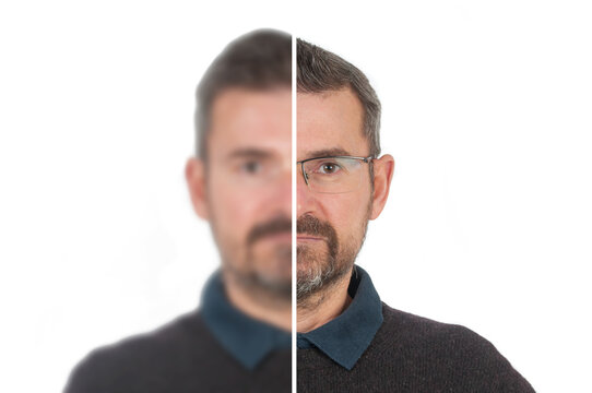 Portrait of adult man in two images. Sharp image in eyeglasses and blurred image without eyeglasses
