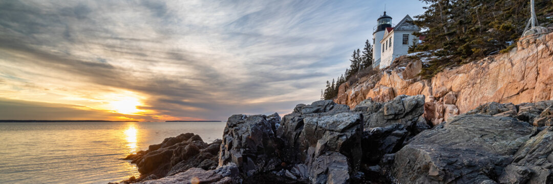 historic landmark Bass Harbor Head Light in Maine, United States
