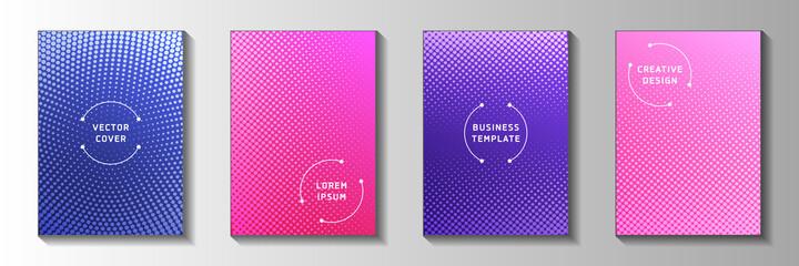 Obraz Futuristic dot faded screen tone cover templates vector set. Scientific journal perforated screen - fototapety do salonu