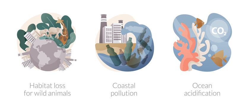 Environmental change abstract concept vector illustrations.