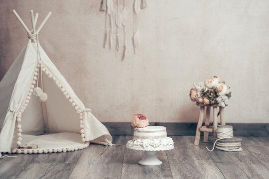 Digitaler Hintergrund Dekoration Geburtstag boho vintage cake smash mit Torte Var. 1