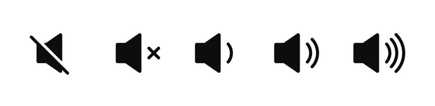 Sound volume icons set with different signal levels on white background. Аn icon that increases and reduces the sound. Sound icon, volume symbol, speaker sign, audio control icon set. Vector