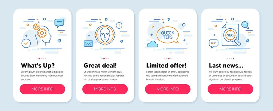 Set of Technology icons, such as Face detect, Thoughts, Quickstart guide symbols. Mobile app mockup banners. Seo file line icons. Select target, Business work, Helpful tricks. Search document. Vector