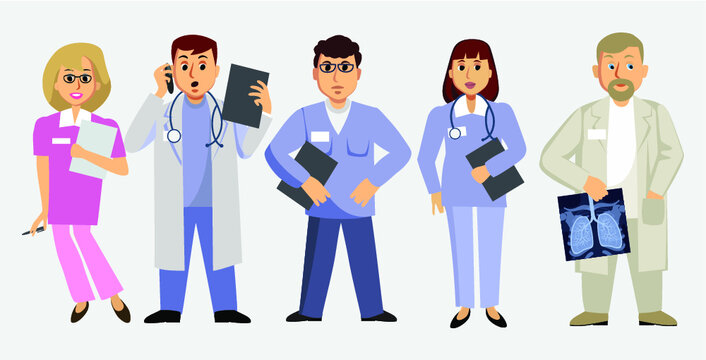 Doctors and Nurses wearing Uniform. Professional Healthcare Team at Work. Male and Female Medical Characters Set. Vector Illustration.
