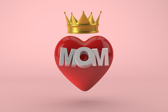 Mothers days. Red heart with text mom with golden crown. The queen of the house, 3D Render