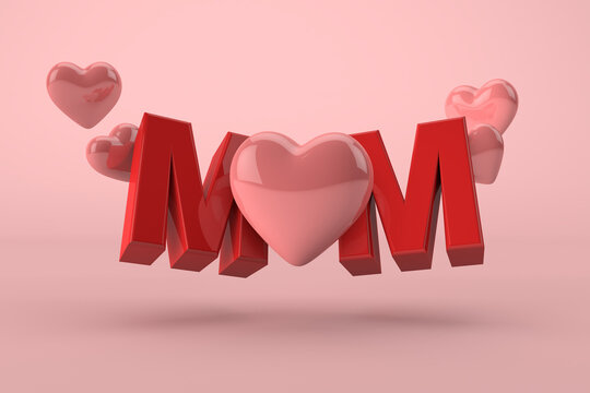 Mother's day pink concept. Mom 3D with hearts