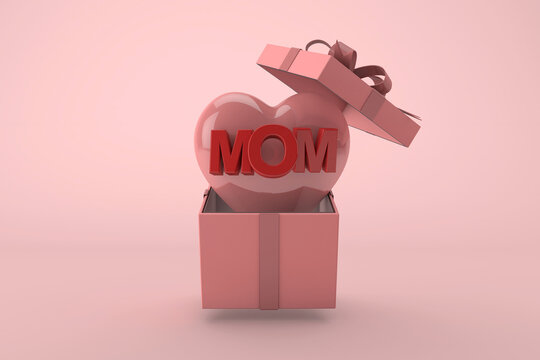 3D Mother's day. gift box with pink heart and mom text on pastel background