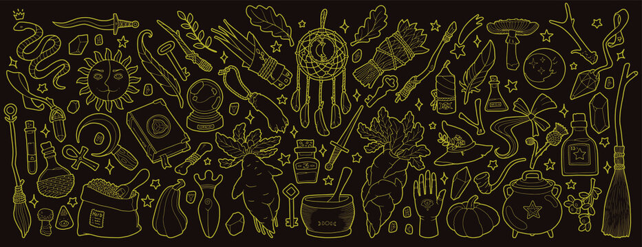 Magic items. Hand drawing illustration.