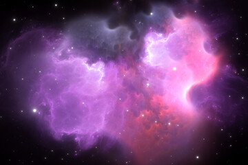 Glowing space nebula AR10 and stars in deep space