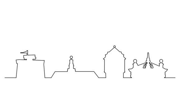 Skyline von Emden in Linien style