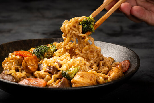 Yakisoba noodles. Yakisoba dish with meat, chicken and vegetables.