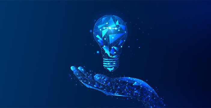 Abstract hand holding light bulb. The Internet technology triangle icon is a concept of a polygonal network. An idea, electricity, innovation, or other conceptual illustration or background.