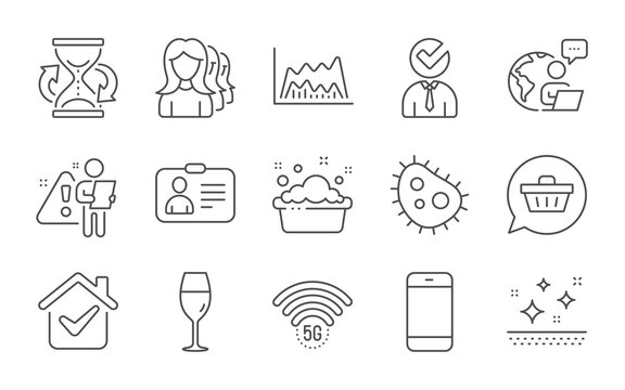 Trade chart, Smartphone and Women headhunting line icons set. Vacancy, 5g wifi and Clean skin signs. Shopping cart, Bacteria and Id card symbols. Hourglass, Wineglass and Hand washing. Vector