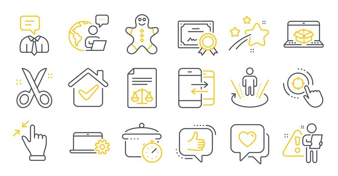 Set of Business icons, such as Augmented reality, Online delivery, Seo target symbols. Like, Heart, Scissors signs. Support service, Notebook service, Touchscreen gesture. Boiling pan. Vector