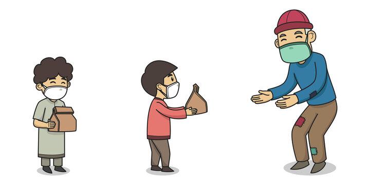 Children Giving Sadaqah to Poor People. Character Illustration. Vector Illustration. Children Book Illustration.