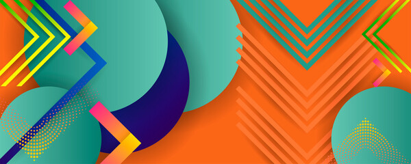Bright orange summer color design backgrounds template autumn shade juicy background with geometric elements with dots lines and business friendly text