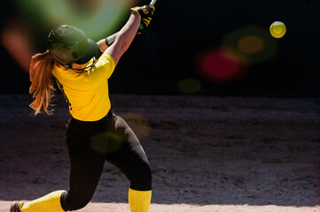 Fototapeta Baseball Softball Female Swinging