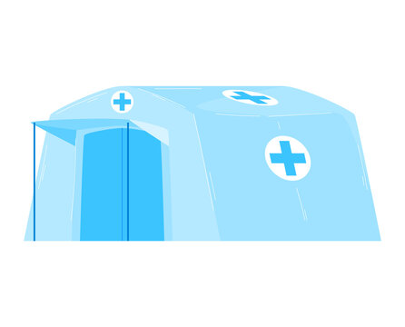 Military medical help tent, camping equipment, summer outdoor adventure, design cartoon style vector illustration, isolated on white.