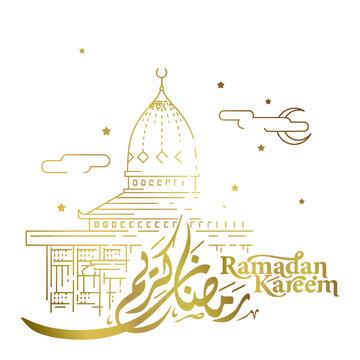 Ramadan kareem islamic greeting with arabic calligraphy and line monque illustration