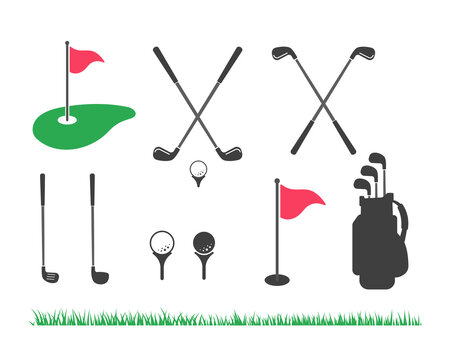 Golf club and ball set Isolated on white background for golf lovers.