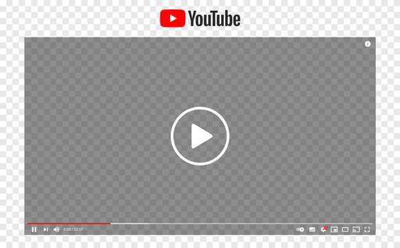 Recke, Germany - April 13, 2021: Youtube video interface template isolated on transparent background