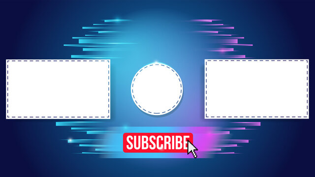 Youtube End Screen with green design and green lines. Youtube Video Template, background, Outro Card, endscreen, banner, channel. Social media design.