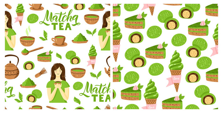Matcha green tea pattern set. Seamless japanese culture pattern collection with Matcha powder, bowl, teapot, leaves and cupcake.