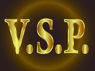 Fototapeta abbreviation of three letters V S and P separated by dots in golden tones on a dark background obraz