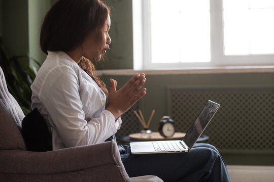 telehealth with virtual afro American doctor appointment and online therapy session. Black doctor online conference