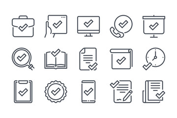 Fototapeta Quality and Approve line icon set. Check mark and acceptance linear icons. Checklist and Confirmation of guarantee outline vector sign collection.