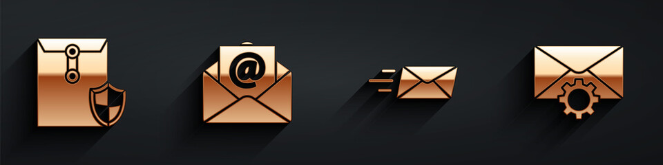 Fototapeta Set Envelope with shield, Mail and e-mail, Express envelope and Envelope setting icon with long shadow. Vector