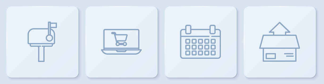 Set line Mail box, Calendar, Shopping cart on laptop and Carton cardboard. White square button. Vector