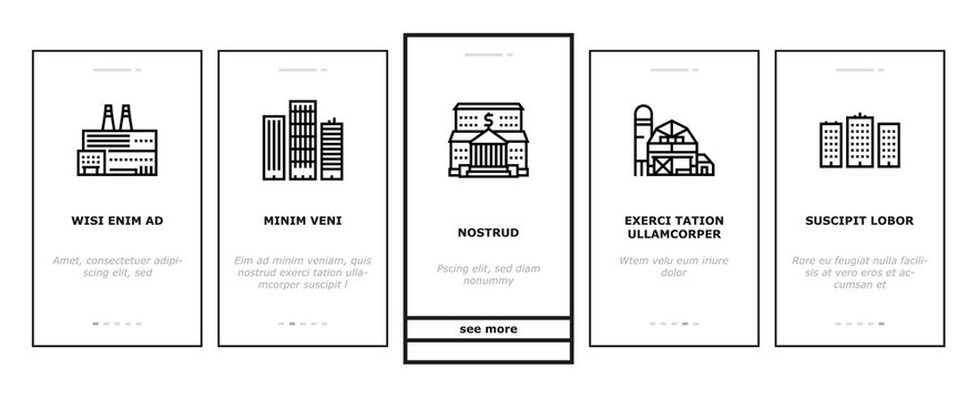 Building Architecture Onboarding Mobile App Page Screen Vector. Skyscraper And Bank, Hospital And Shop, Railway Station And Hotel, Church And Parking Building Illustrations