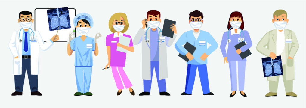 Doctors and nurses in medical masks. Professional healthcare team at work.  Set of male and female medical characters. Vector illustration in flat style.
