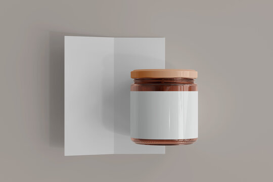 Blank Label Amber Glass Food Jar with Bi-Fold Brochure 3D Rendering