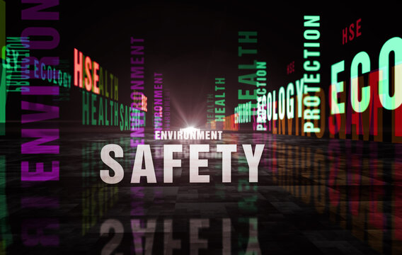 HSE health safety environment text abstract concept illustration
