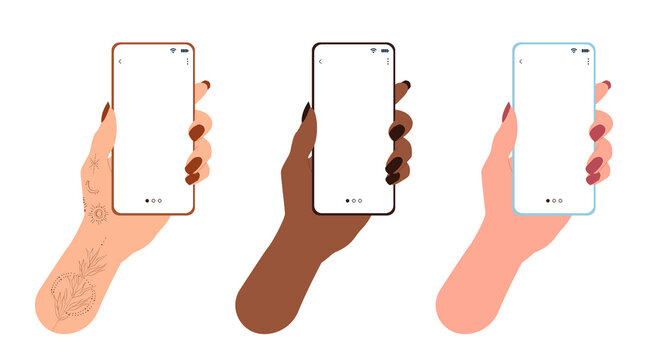 Women's hands of different nationalities, as well as a hand with tattoos, hold mobile phones. Flat vector illustration on isolated white background
