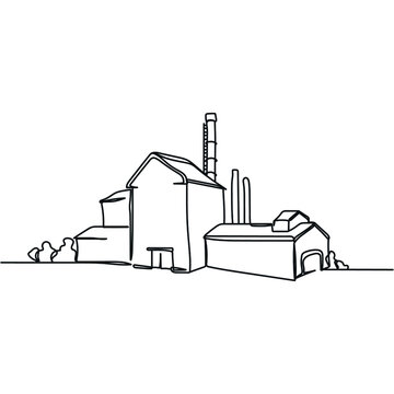 Continuous one line of industrial factory concept in silhouette. Minimal style. Perfect for cards, party invitations, posters, stickers, clothing. Black abstract icon.