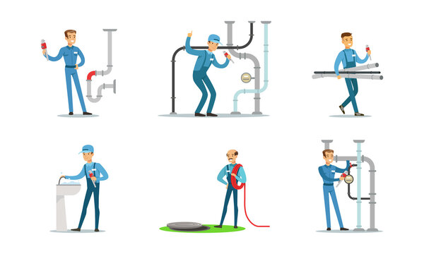 Professional Plumbers, Handymen in Blue Uniform Repairing Pipes with Tools, Repair Service and Maintenance Cartoon Vector Illustration