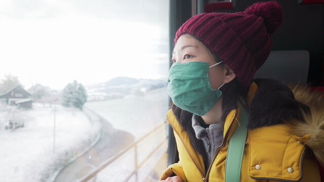 travel during covid19 - young happy and beautiful Asian Korean woman in face mask looking to snow through train window traveling during winter holiday