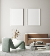 Wall Murals mock up poster frame in modern interior background, living room, Art Deco style, 3D render, 3D illustration