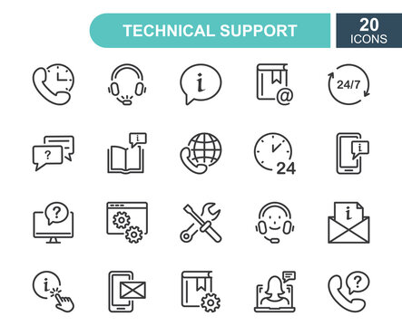 Set of Help and Support line icons. Phone Assistant, Online Help, Video Chat and Faq line icons. Internet Support and Contact service. Round Clock Call Center. Editable Stroke. Vector Illustration