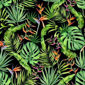 Watercolor tropical leaves and flowers pattern. Monstera, heliconia and palm leaves handdrawn pattern on black. Colorfull pattern for design textile, wallpapers, prints and banners.