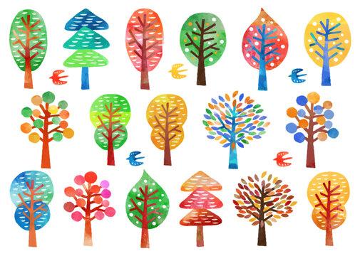北欧風_水彩_木のパターン