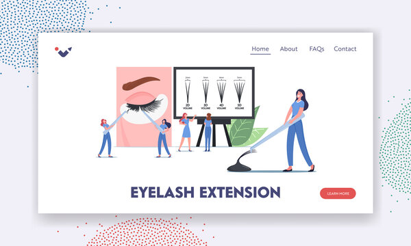 Eyelashes Extension Landing Page Template. Tiny Masters Characters with Tweezers Presenting Beauty Procedure Infographic