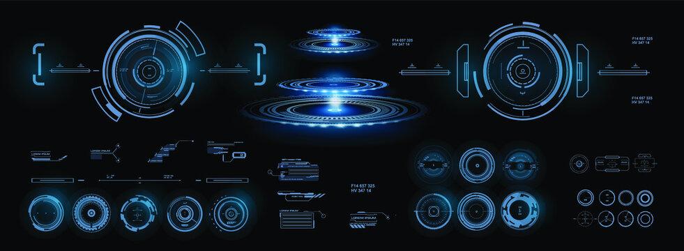 Set automatic sighting AIM. Futuristic display. Digital optical focusing of targets. AIM HUD guidance screen