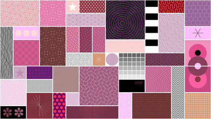 Flat design of many different abstract patterns and shapes for web, vintage, package, advertisement, commercial banner, poster, leaflet, billboard, sale. Can be used as seamless background.