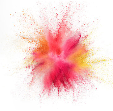 Explosion of colored, fluid and neoned powder on white studio background with copyspace