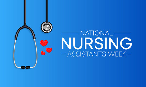 National Nursing assistants week is observed every year in June, The main role of a CNA is to provide basic care to patients and help them with daily activities. vector illustration.